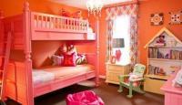 ห้องนอนสีชมพูอมส้ม